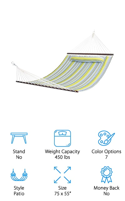 It doesn't get much more traditional or classic than this hammock by Best Choice. The hammock itself is made out of weather-resistant, soft cotton so that you can be comfortable about it being out in the weather while still enjoying a plush quilted fabric. It even comes with a detachable pillow. The seven color options are great for the beachside, tasteful and perfect to match your swimsuit or whatever other gear you're bringing with you. It's a double hammock so it can fit up to two people and 450 pounds before it becomes unsafe. So get yourself a portable stand or find two sturdy coconut trees to plant your roots and enjoy the day for a while! It's the best relaxation agent! It includes hardwood spreader bars that make sure it keeps its shape and doesn't bunch up when you aren't using it, so the fabric will be preserved without any issues! We love this double hammock!