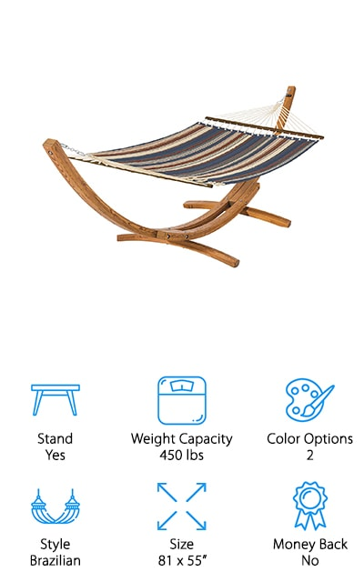 This Brazilian-style hammock is great for resting and relaxing with your partner or friends in the backyard. One of the coolest things about it is that the pad has two colors, so you can use the stripes or you can rest against the solid side, depending on your mood. Either side is resistant to fading and weather, so that shouldn't influence you at all! It can hold up to 450 pounds, which is great for you and your dog or you and your partner. Another cool feature is the stand, which is a curved wooden stand that's made of 100% Russian larch. It won't decay easily, and it incredibly resilient as well! The 100% polyester is comfortable and great for cozying up with a book on a nice summer afternoon. The spreader bar and aluminum rings are stable and sturdy, so you won't have to worry about tipping out of it. We love it!