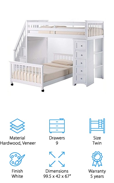 Pemberly Row Stair Loft Bed