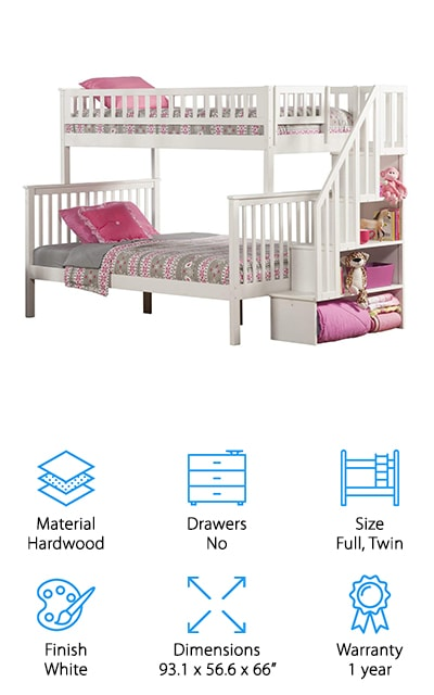 Another full bunk bed design that we had to include is the Atlantic Furniture Woodland Bunk Bed. First of all, it's made of eco-friendly hardwood that will last and last. It's also coated with a five-step finish that keeps the surface protected and is kid friendly. You don't have to worry about getting slats to support the mattresses, either, because everything you need is included, just add the mattress. This bunk converts to two separate beds when your kids are ready. You can also place the staircase at either end of the bed so that it fits into any room. While this one doesn't have any drawers, there are four shelves tucked away under the stairs where your kids can put books, board games, or stuff animals.