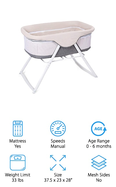 Last up is the Costzon Baby Bassinet. You can use this as a stationary bassinet as well as a rocker by simply turning feet. The sides of this bassinet are see-through mesh which lets you keep an eye on your baby wherever you are. It also has a microfiber cover that zips over the mesh. It's actually filled with sponge that's about an inch thick to add extra warmth and keep your baby comfortable during the colder months. This bassinet is lightweight and folds down to a compact, easy to transport size. Also included is an Oxford carry bag which for easy travel beyond the next room. The light aluminum frame is durable and easy to carry. Overall, this is a stylish, safe, and cozy option for your sleeping baby.