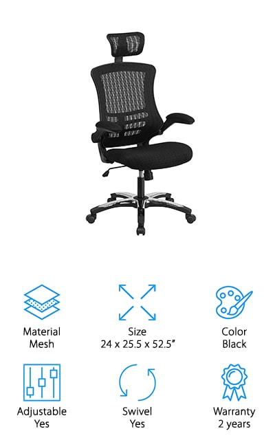 The Flash Furniture Executive Chair is one of the more contemporary looking ergonomic office chairs we reviewed. The back is upholstered with mesh that allows air to circulate while also providing the appropriate support. This chair provides the right amount of support to relieve tension in the lower back. It even has an adjustable headrest that moves up and down to give support no matter how tall you are. This chair rocks, reclines, and rotates 360 degrees. That's not all, there's even a waterfall front seat that eliminates any pressure on your legs and helps to improve circulation. Height adjustment is simple, too. And get this, the armrests are designed to flip up and out of the way so you don't have of go through the trouble of removing them if you prefer an armless chair.