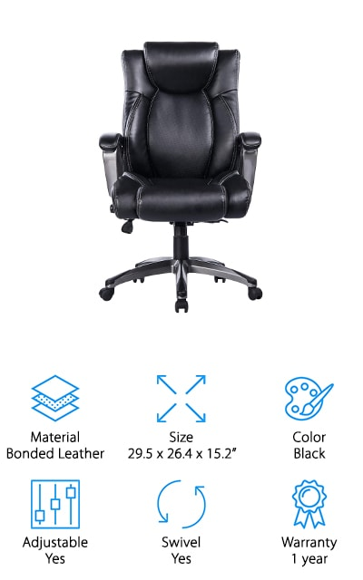 Last up is the Vanbow Office Chair, a reclining executive chair that has a plush memory foam layer that provides both comfort and support. There's even a waterfall seat edge which provides a smooth, rounded edge that puts less pressure on the back of your legs which increases blood flow and reduces pain and fatigue. The unique thing about this chair is it has a built-in adjustable lumbar support. All you have to do is use the lumbar knob to increase or decrease the pressure as needed. You can also adjust the tilt tension and lock in the recline of your choice. The heavy-duty nylon base allows the chair to rotate a full 360 degrees and the casters provide excellent stability and easy movement across any hard floor.