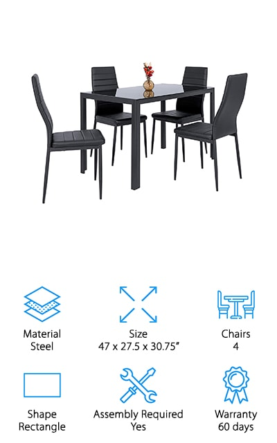 Next in our glass dining room table review is this table and chair set from Best Choice Products. The thing that stands out the most about this set is that the glass tabletop is actually tinted black, which gives it a really sleek, polished look. It has a very simple steel frame that's rust resistant and made to last a long time. The set of four chairs features a gently curved backrest and a steel frame that matches the table base. The seats are upholstered in black ribbed faux leather. Because everything from the frames to the seat cushions to the tabletop is black, this table really stands out. It has a distinctly sophisticated look that works well with various styles. Some assembly is required.