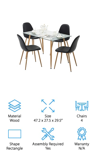 Up next is another great set if you're looking for an awesome glass table with the chairs to match. The Mecor Dining Set is perfect for small spaces. The tabletop is made of 8mm thick tempered safety glass. This is a really simple design that doesn't have a complicated or intricate base. It simply has four wooden legs that attach directly to the glass. This table seats up to four people comfortably and comes with supportive, high back chairs that really complete the modern, minimalist look. They're upholstered in soft faux leather that's been coated with PU to make them water resistant. If you need to clean up a mess, it's as easy as wiping it away. Plus, the table legs and chairs have a rust resistant finish to protect them from damage over time.