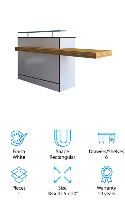 The Onix Reception Desk is perfect for a welcome desk, security counter, or hostess stand. What's different about this product is that it's a standing desk. The workspace itself is quite small but can fit a telephone and a laptop computer. The surface includes grommet holes for easy cable organization. There is also a lot of shelving space, more than we've seen so far. There are six shelves on the inside of the unit as well as one large wood-toned shelf that extends out to the side. This shelf can be used as additional workspace or designated for customers or guests. It's made of white high pressure laminate that's durable and easy to clean and includes plastic sliders to protect your floors from damage. Plus, assembly is easy. All you need is a Phillips screwdriver.
