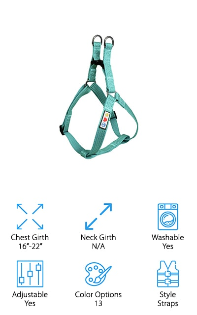 Our last, but not least harness is the Pawtitas Dog Harness. This strappy harness comes in 13 colors and is made with 65% polyester. The other remaining material is made out of cotton, giving it a softer feel than your standard polyester harness. Because this harness is made to strap over and around the chest, not the neck, there is no neck measurement needed. You will need to measure the chest of your dog before purchasing to ensure you get the right size, but measuring once is worth it! This harness is ideal for dogs over 5 pounds such as Yorkies, Chihuahuas, and similar sized dogs. Since the harness is so durable, feel free to throw it in the wash but you may need more heavy duty cleaners to get rid of heavy stains. If you're looking for a comfortable, strap-on harness that avoids all the neck measurements, give Pawtitas Dog Harness a try!