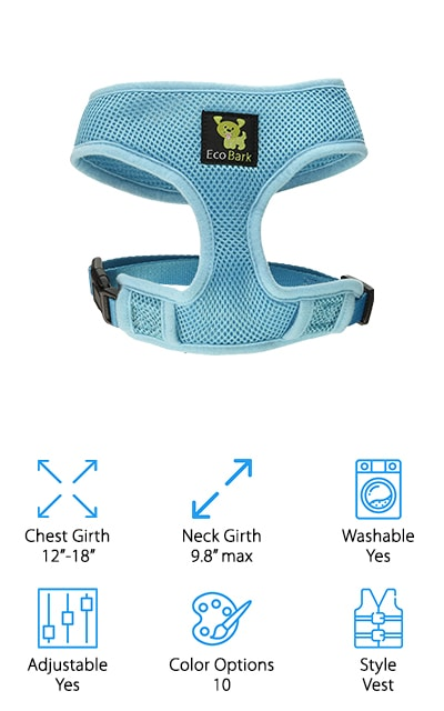 There's an option for every dog, including the eco-friendly ones! EcoBark's Control Dog Harness is one of the best no pull harnesses for small dogs as it gives support to both the neck and chest areas without causing injury. Their no-choke design gives you everything you need to keep control of your dog without causing damage to areas of the throat. You have a variety of colors to choose from including fun colors like blue nautical and camo. The harness itself is made from recycled water bottles so not only are you helping your dog, you're helping the environment, too! EcoBark's harnesses are breathable enough for extended play or running. The mesh allows the harness to move with your dog without interrupting their natural movements or causing rash and irritation. For the eco-friendly dog parents out there, EcoBark's Control Dog Harness is a great option to keep the pulling at bay while doing your part to save the environment!