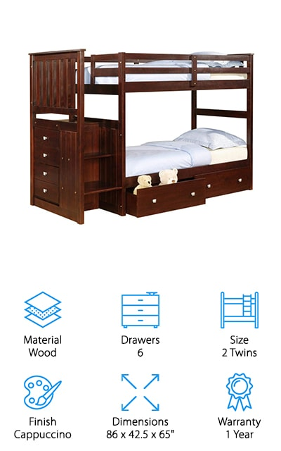 Donco Cappuccino Mission Bunk Bed