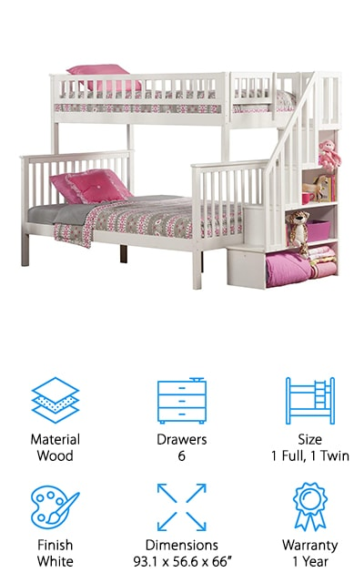 Just like the first Atlantic Furniture bunk bed, their Woodland Bunk Bed is made from eco-friendly hardwood with a five-step finish. With both twin size and full size beds, this bed is great for kids and adults. Both bed areas fit a 9.5 inch thick mattress and can be split up into two separate beds. The staircase can also be setup on either end, giving you simple customization. Assembly is required, but in a few quick hours, you'll have a set of your very own bunk beds perfect for your kids' room or a vacation house! A slat system is included to keep your mattresses from falling in, and steel reinforcements keep the bed together for years to come. If your bed breaks or malfunctions at any point, it comes with a one year manufacturer's warranty so you can get a replacement or the parts you need to fix it. If you're looking for a full size bunk bed, Atlantic Furniture's twin and full sized beds are a great compromise!