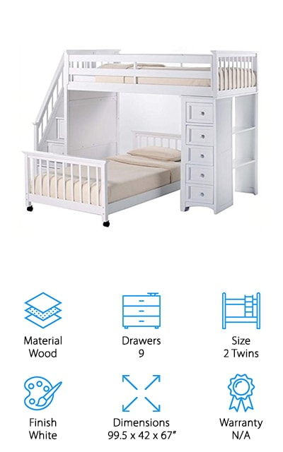 If your child is a bookworm, the Pemberly Row Stair Loft Bed is a great choice. With a ton of storage, nine drawers, this bed also comes with 2 bookshelves! The bunk beds are made of hardwood and veneer for a very sturdy build. The top level bed accommodates an 8 inch thick mattress and an additional bed can fit under the top level between the drawers and stairs. There's a desk option, too, that could be useful for doing homework or studying. Once you receive your bunk bed, the box will contain slats for the bed, all the parts needed to build the drawers and bookshelves, as well as the stairs. You'll definitely need two people to set up this bed, but the amenities it provides will make all the hard labor worth it! For the studious kids out there looking for the best bunk bed, the Pemberly Row Stair Loft Bed is the only choice!