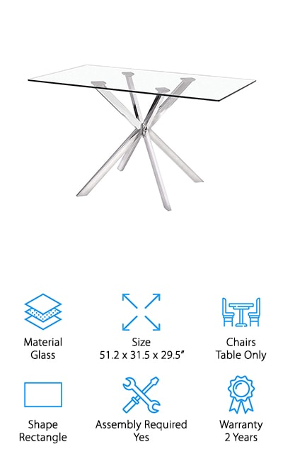 Our last pick is a glass dining table! The Uptown Club's Linus Dining Table will definitely make a statement in any dining room with its stunning steel legs and glass tabletop. The table itself weighs about 75 pounds, so assembling this table will require two people at the very least. The criss-cross legs are made out of stainless steel to support the weight of the tempered glass top. Perfect for any dinner party or get together, this table fits 4 people comfortably. If you're looking for a table for a big space, this table may not work well but if your family is small you'll experience many great dinners together there. This particular table is much different than any of the other tables we've shown you, but it's one that will leave all of your guests in awe. If you have been dying to have a glass table, you should check out the Uptown Club Linus Dining Table and add it to your shopping list!