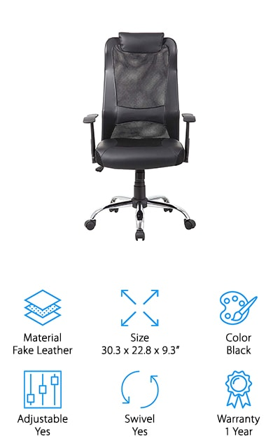This leather executive chair is a great option if you're looking for a breathable and durable chair for your home or office. Made from mesh and leather, you get the best of both worlds of comfort and breathability. Simple controls allow you to adjust the height and tilt of your chair. You'll have a padded leather seat and pillow along the headrest for ultimate comfort. With built-in lumbar support, your back will thank you for this chair. 360 degrees of swivel is included with a strong nylon base that gives you all the support you need to hold up to 250 pounds. If you decide to purchase this chair you have a 30-Day Risk Free Guarantee if you decide you don't like the chair. If you decide to keep the chair, you have a warranty up to 1 year for any defects that you could possibly experience. The Kadirya Ergonomic Chair gives you a traditional style executive chair for better days of work.