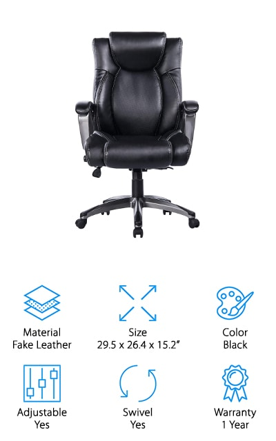 The Vanbow Office Chair is a bonded leather chair with everything you need to work, play, and roll on. With wheels attached to the bottom, you can roll this chair anywhere you'd like. The plush memory foam seat and chair back give you the comfort you need, while ergonomic lumbar support design gives you options to customize the pressure on your back. With the 360 degrees of swivel, you can turn in every direction. You can also adjust the height and tilt of this chair easily with a few turns of the knob. You haven't even heard the best part yet! The waterfall seat edge is designed to alleviate any leg pain and increase blood circulation to give you a few added health benefits. The nylon base gives this chair enough strength to hold your weight, while the nylon caster wheels give you mobility on any surface without scratching or screeching along the way. The Vanbow Office Chair is perfect for you if you're looking for comfort, durability, and stability.