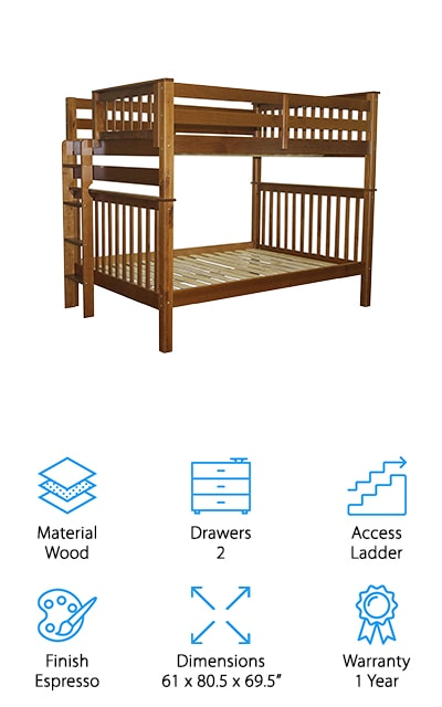Bedz King is back again with another great bunk bed! These mission style bunk beds come in an espresso finish that fits in with almost any style room. The finish is also child safe so never worry about putting your kids to bed again. Just like the other Bedz King bunk we listed earlier, these beds are made out of Brazilian pine to give you strength and stability without all the creaking noises. The ladder can be placed on either the left or right side of the bed depending on what your space calls for. The beds can be separated into two full beds if you decide to move them to separate rooms or if your children need more space. Assembly is required for this set of bunk beds, but you'll find the tools you need to put them together inside the box. The Bedz King Mission Bunk Beds are perfect for any home and hold up for years to come.