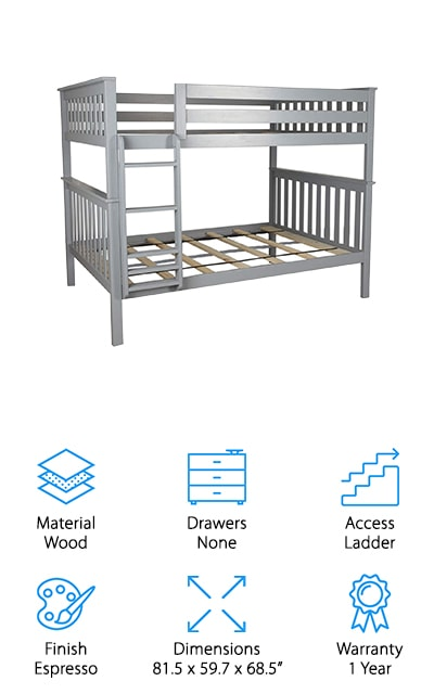 If you're looking for the perfect, roomy bunk bed for your kids the Max & Lily Bunk Bed is the one for you. Made from 100% New Zealand Pine Wood, this bed holds up to 400 pounds of rough housing and jumping around. Fourteen inch guardrails will protect your kids from falling off the top bunk. The top bunk fits a standard full mattress size and thickness. The room you put the bunk bed in should have at least 8 feet of space from floor to ceiling to give your kids enough headroom. Although there aren't any drawers for storage, you can buy a separate mechanism for underbed storage or a trundle bed if you want more sleeping space. You can also separate the beds from each other when the kids grow up and need their own rooms. The Max & Lily Bunk Bed are an excellent choice for kids as it's been kid-tested for safety, quality, and stability. Save space, headaches, and time when you buy a bunk bed like this!