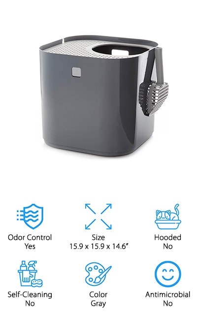 The Modkat Litter Box is perfect for the modern cat lady or cat man. No more bulky hood to remove every time you go to clean the litter box, just swivel the lid and clean away. The small hole at the top is where your cat can drop in to do his business. The lid serves as both a walk off mat for excess litter and the lid to keep the litter inside from getting out. Cat owners from all around love how this litter box has taken the litter tracking down to almost nothing. Each litter box comes with a tarp liner to keep the inside of the litter box clean. You'll also get a litter scooper with your purchase that can be stored outside your litter box for easy access. The Modkat Litter Box is the perfect way to give your cat a discreet way to use the bathroom without creating an eyesore in your home!