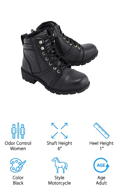 For all the female motorcyclists out there, the M-Boss Apparel Motorcycle Boots are a hit! These boots have all the bells and whistles of classic motorcycle boots without feeling too clunky or heavy. They are comfortable enough to wear all day, but it gets even better! These boots are made with 1.8mm thick full-grain leather making them acid and oil resistant. The laces and zippers make these boots easy to take on and off after a long day on the road. No worries if your feet tend to sweat on hot riding days either. These boots are made with moisture wicking and antimicrobial insoles to keep the sweat and bacteria out and away. You won't have to worry about leaving a skid or mark behind you either, because these boots are anti-mark and anti-skid, too. Ladies, if you're looking for a sturdy and fashionable pair of motorcycle boots, M-Boss Apparel has the perfect boots for you!