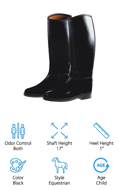 Much like the Ovation Derby Riding Boot, the Dublin Kids Universal Boots are made in a traditional equestrian style. They are completely waterproof and easy to slip on and off. These boots are very tall, so determining the right size before buying is a must. The lining inside the boots is made with moisture wicking material, making them breathable for any day on your horse or in the stables. The outside is made of rubber, so they're easy to clean with a simple wash or damp cloth. Even though these boots are made for riding, they also can function as rain boots or cleaning boots for dirty jobs. There are also spur rests on the heels of these boots to keep your spurs nice and secure while riding. The Dublin Kids Universal Boots are truly universal. They can be used for riding, cleaning, or walking in the rain. If your child enjoys getting dirty, try these boots out and see for yourself!