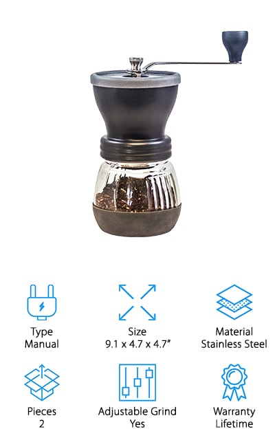 Khaw-Fee's Coffee Grinder provides you with the freshest cup of coffee, no matter where you are. This stainless steel grinder gives you the option to grind based on what coffee you'd like. Made with a stainless steel exterior and ceramic burrs, you can expect this grinder to last for years to come. The hand crank makes grinding easy and quiet without disturbing your family while they sleep in the early mornings. There won't be any guesswork when you grind your coffee beans anymore! If you have any issues with this grinder, you have a lifetime warranty with your purchase so you can return or get a replacement anytime. Khaw-Fee prides themselves on giving you the very best and if you're not satisfied, they aren't either. If you're looking for the best hand grinder for french press coffee, the Khaw-Fee Coffee Grinder is one of the very best for fresh coffee on the go.