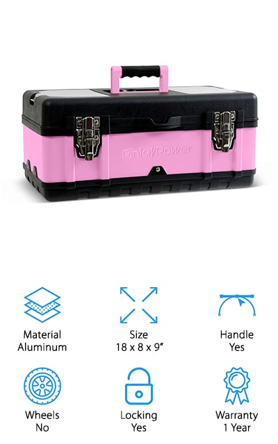 Pink Power Portable Tool Box
