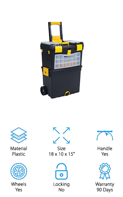 The Stalwart Mobile Toolbox is another great tool station that will make life on the job much easier. With two separate tool box compartments, you can decide what to take with you or leave at home. Inside each of the boxes, you'll find a removable tray to help organize the smaller tools that could get lost among the heavier ones. If you have extension cords, around the top of the first tool box has cable hooks to keep them organized and untangled. Each tool box has two compartments for big tools and a tray, but the top box has 24 smaller storage compartments that are made for small parts and pieces. You can take the first tool box out and run with it if you only need the essentials, but the best part about this mobile station is that it allows you to roll both tool boxes together if you're working on a big project. The Stalwart Mobile Toolbox is a great purchase for anyone with tons of tools and even bigger projects!