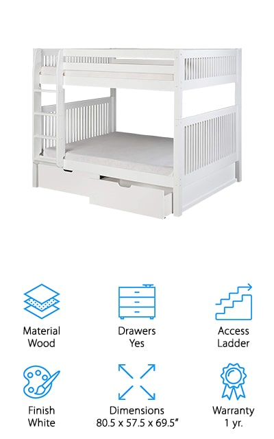 The sleek and simple design of this bed makes it a great choice for your child, no matter their age. It's available in white, cappuccino or a natural wood tone and gives you 2 full size beds with an attached ladder. Made with completely natural and solid wood you know you're getting something durable and long lasting. On top of that, you get extra-wide and deep grooved steps that will help improve safety as your child is climbing and a guardrail around the top for while they are sleeping. Under the bed are even drawers to help store your children's favorite things, some clothes or anything else you might need. Along with everything else you're also going to get a 1 year warranty that says this bed is durable and made to last.