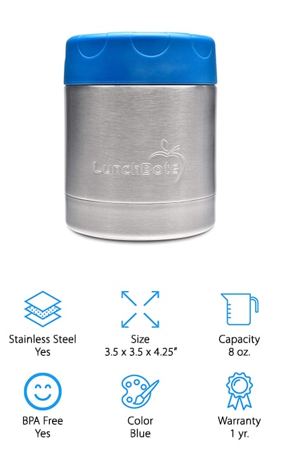 If you're looking for a small thermal container that will hold enough for a snack or a small meal then you're definitely going to want this 8 ounce option. It's stainless steel on the inside and the outside with a fun blue lid to add a little bit of personality. Able to keep hot foods the right temperature for up to 6 hours and cold ones for 12 hours, it's entirely leak proof as well. This thermos also comes in different color options including pink, black, light blue and green. With a triple insulation process, it's durable and works well with other products from the same company. You'll even be able to throw it directly into a purse or backpack without having to worry about spills or fit it into the specially made LunchBots options.