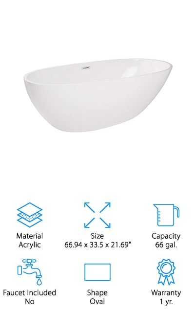 This oval bathtub gives you a completely freestanding unit that comes with a drain and overflow assembly so all you need to do is pick out your own faucet to match the rest of the room. It's a large soaker tub and it's made with acrylic so you know that it's going to be durable but still light enough that you can easily move it. Capable of holding up to 66 gallons at a time you'll be able to really relax in here. There are even leveling feet underneath that help you to get it perfectly level, even when your bathroom isn't. There's a flexible tube drain included if you would prefer to use it or you can connect directly to your current plumbing. All you need to do is set it up and you'll be able to take your first relaxing bath in no time at all.