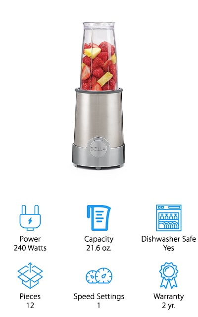 This super simple blender is actually made for just 1 person and comes with a 12 piece set so you're ready for anything. It's stainless steel in color and all you have to do is twist on the cup to get started. It can blend right through whole fruits, leafy greens and even dry foods or spices. The base has rubber feet that give you better grip and make sure that it will sit wherever you want it. The lids even let you take the cup on the go and drink it easily or let you shake it out onto your favorite foods. Everything in this blender is BPA free and dishwasher safe, including the tall blending cup, short blending cup, drinking cup, lids, comfort lip rings, shaker tops and more. Capable of doing just about anything you could want, this is definitely an all in one set.
