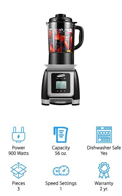 This blender is going to give you high speed and efficiency, capable of getting up to 35,000 RPMs. It also gives you all of the nutrition that comes from your fruits and vegetables and has 6 stainless steel blades to get through. Able to juice, create smoothies, soups and baby food or even grind meats, this is a very versatile blender. It's made with completely BPA free materials and only works when the jar is installed properly to improve safety for those who are using it (or shouldn't be). The 56 ounce pitcher is large and made with a heavy duty glass that's actually stronger than plastic and better for you and your family. Complete with a 2 year warranty, this is a great option for you to get everything you need with the 900 watts of power.
