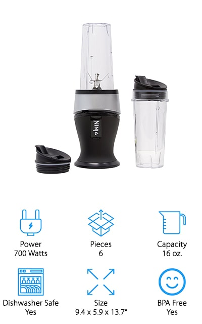 This Ninja blender top gives you a 700 watt base and 2 16 ounce cups, which is convenient when you and your partner or a friend need something great to drink. The cups even have spout lids and you'll get a recipe book that helps you get even better options. The blender helps pull out all of the nutrients and vitamins that you need from the fruits and vegetables that you're using. Crush frozen ingredients with no problem and get a great consistency to everything that you want. This small size blender is made for a single person to use consistently and it makes sure you won't have too much power but you will have just enough. Plus it's simple to use, with just a single push button to pulse through anything.