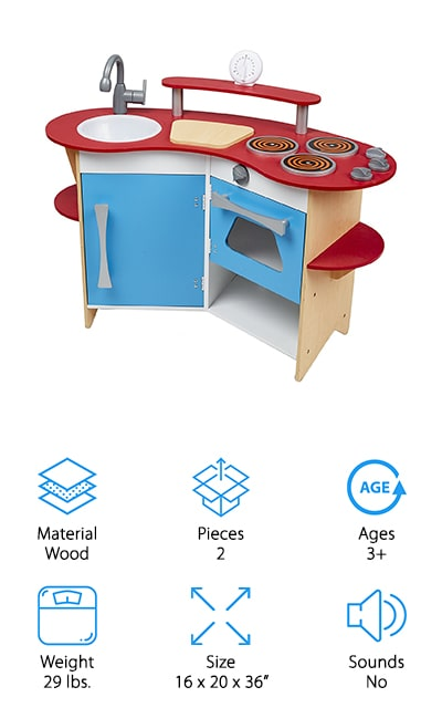 This toy kitchen is simple and small but definitely encourages your little one to have fun and start learning more about running their own kitchen. It has a stove and oven with doors that open, knobs and 3 burners, plus a sink and timer. There's even a cutting board and shelves to store different belongings and some of their 'food' as well. The details make it all look more realistic and ideal for 3 year olds and older who want to start role playing just like the adults in their life. Easy to clean you can even swivel the faucet and turn the dials. Wipe down everything and even remove the sink to get everything clean and neat again. Made of wood, by a company that's well known for kids' toys and learning implements, it's definitely a great option.