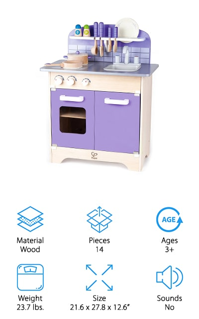 Made in the USA, this kitchen set has wooden accessories as well and is designed for toddler children. The purple color is super fun and bright and the size is great for just about any playroom or bedroom. You get a sink, stove, oven and fridge design with plenty of utensils and pans. There are even shelves to store different items on. If you're not completely happy you can even get a full refund, but that's not going to be a problem when this kitchen set is helping your little one learn more about role play, organization and more. Designed for children 3 and up, it has completely nontoxic parts and plenty of opening and closing doors to make this as close to a real kitchen as you can get for your child.