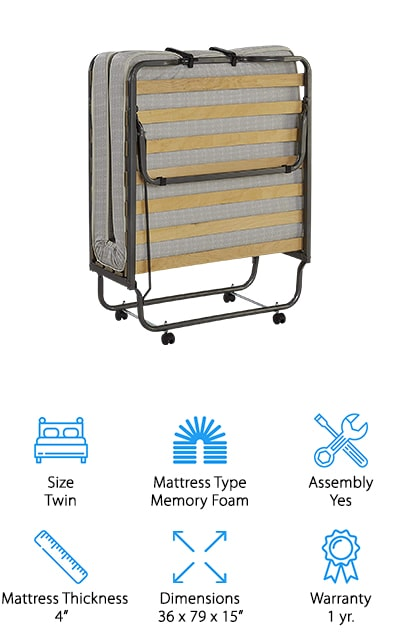 "This twin size bed is a great kid's rollaway bed and a great adult rollaway space. It's made in an Italian design and provides you with 15 spring wood slats that are going to give you just the right balance between support and comfort. It's lightweight, which makes it easy to store away and fold up when you're done with it. It also has wheels to help it roll anywhere. The steel tubes are epoxy coated to help prevent rust and still improve durability. The 4"" thick mattress is memory foam and covered with an anti-dust cover. The weight limit here is 225 pounds and the simple assembly means you can get it ready to in no time. You'll even have a 1 year warranty that will prove you have a great product and one that's designed to last."