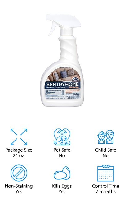This 24-ounce bottle has a simple spray attachment so you can easily get your house covered. It can kill fleas, ticks, eggs, and larvae and holds up for up to 7 months. You'll also have an odor eliminator that keeps your pet odor down as well. You'll want to keep your children and pets away from the spray until it's completely dry. Inexpensive, however, this is definitely a great way for you to get rid of just about anything and make sure that you feel great in your home again. You can spray this over pet bedding, any type of upholstery, rugs and a whole lot more. That way you can make sure you have the entire house covered and that you can clear out all of the bugs to keep comfortable.