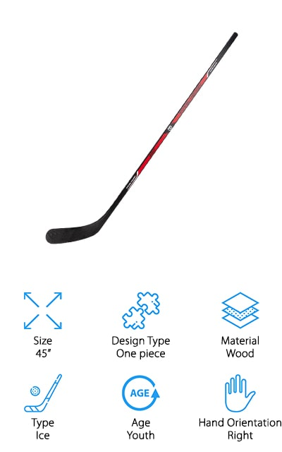 Sherwood makes one of the best low kick hockey sticks on the market right now. This youth stick is made of wood with a fiberglass wrapping to help it absorb shock better. It's durable and lightweight enough to make it fun for children to play! It's also one of the best sticks for getting your child interested in hockey! It's got enough aesthetic appeal to be cool as well, with hockey logos up and down the stick. You can show your love of the game without additional modification! At 45 inches, it's the perfect size for the youth player in your life and is definitely durable enough to make it on and off the ice in one piece! If your child is just learning how to play hockey, this is a great gift to get them started off in the right direction! The younger players in your life will sure love this one-piece wooden stick with plenty of power!
