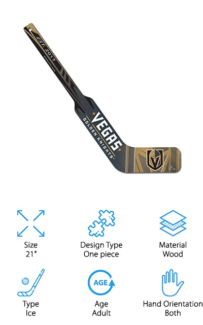This miniature hockey stick by WinCraft is the perfect gift for the goalie in your life! It's made of solid wood hardboard and decorated with the logo of the Las Vegas Golden Knights, as well as graphics with their team colors. It's a stylish way to represent your favorite team! Although it's mainly a showpiece, it's still solidly designed. WinCraft is a well-known company that makes really great fan gear, and the Golden Knights fan in your life will not be disappointed. It's officially licensed and perfectly realized in printing, design, and quality. It's a wide goalie-style 21-inch stick that's smaller than a normal stick for display and representative reasons! We love how well this stick comes together, how it looks and would function like the real thing – and that's exactly why it works so well as a hockey stick that you can display and represent your favorite team. It's a pretty amazing gift!