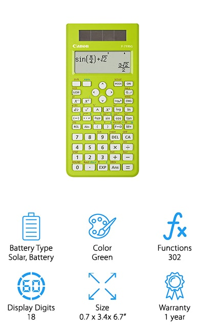 Canon makes this solar-powered calculator with a battery backup. It comes in a pretty green color so you can get the style that you want without sacrificing function because this calculator also does about 302 different functions. There are 38 built-in formulas that you can plug the numbers into. This will help you make sure that you're getting the answers right when you're doing long homework assignments. The case is a hardcover that will protect your calculator and buttons with no additional effort, so you can feel confident carrying it with you everywhere you'll need it. It can store different problems and answers so that you can access them later, which is a handy tool when you're checking over the equations you're trying to solve. The recalled memory is also a nice and easy to use the feature. It has 4 lines so you can see the last equations and answers all at once. We love that.