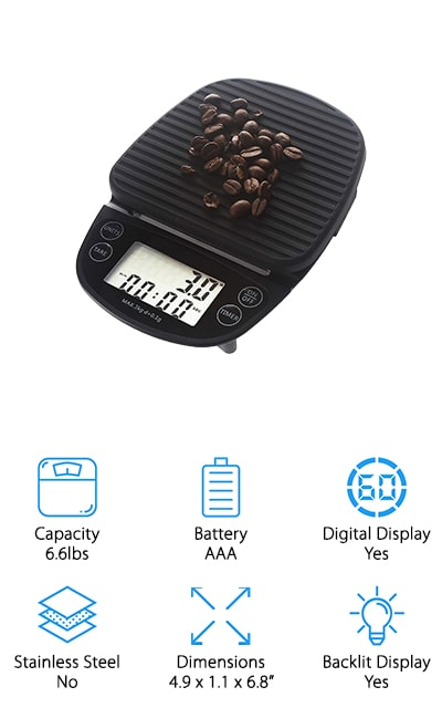 The DOANTE Coffee Scale has the normal coffee scale capacity of about 6.6 pounds, in increments of 0.1 grams. That's super useful for when you have to get just the right measurement. The sensors are super sensitive and high precision so you always get just the right measurements no matter what. It has three different unit modes, including kilograms, grams, and ounces so that you can measure however you see fit. The anti-slip silicone cover is removable, and similar technology on the bottom makes it stable so that it won't slip while you're trying to measure things! We love it! The LCD display is backlit so that you can clearly see no matter what the lighting conditions are, and it even has a timer so you get the perfect brew each and every time. There's a hole on the back of the scale so you can hang it on your wall, freeing up your counter space!