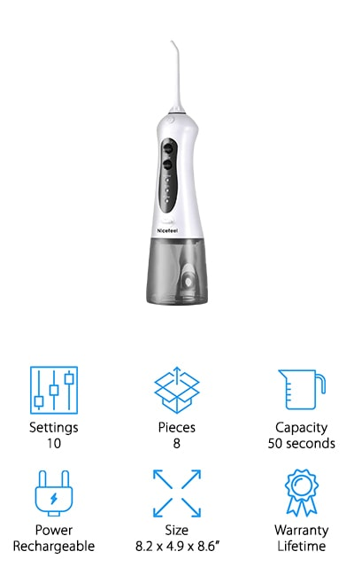 Nicefeel makes this high-powered water pick that is your best tool to clean and properly irrigate your gums! It has a 360-degree rotating nozzle and 4 jets that it uses through the flossing head to remove all of the debris from your teeth. It pulses at an amazing rate of about 1800 times a minute on the highest pressure, but there are ten different pressure settings that allow you to choose your comfort level. It's also cordless and rechargeable so you can take it with you when you're traveling and charge it through the USB. There are three flossing modes, including normal, soft, and pulse so that you can meet your own special oral care needs and help keeps your mouth as healthy as you can. There's even a two-minute timer where it automatically shuts off in case you forget. It even has a storage bag that fits easily into your luggage and a universal USA adaptor!