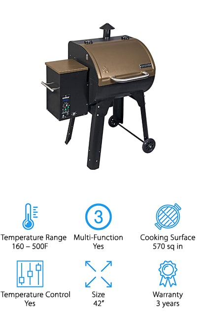 Camp Chef is back on our list again with the SmokePro grill in a beautiful bronze color that's going to look great on your back porch. It has a huge temperature range, from 160 degrees to 500 degrees, to allow for smoking or grilling. This unit can produce up to 25,000 BTUs of heat to get all of your cooking done right the first time! It's got a digital controller for the temperature and an LED readout chamber so that you can see exactly what the temperature is at any moment during the cooking process. Camp chef is also a well-known company that makes many accessories for the grill so that you always have what you need on hand without fail. It's got smart smoking technology so that you can easily adjust and change the temperature for your perfect taste! The ash cleaning system is automatic and you won't have to use the vacuum to clean your grill any longer!