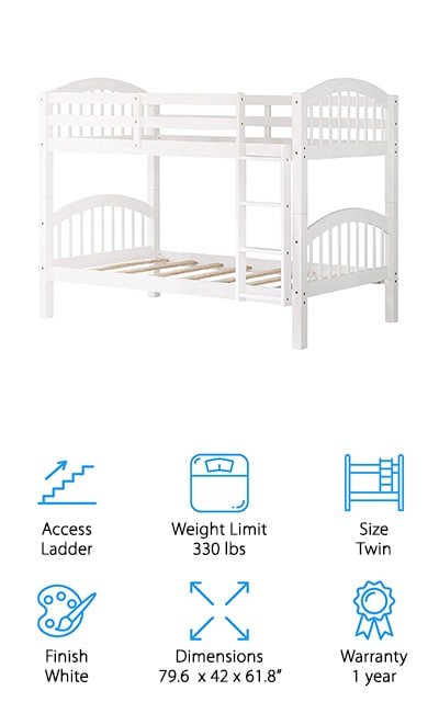 Last but not least in our bunk bed review is this twin-over-twin option from Harper & Bright Designs. This simple design is perfect for any decor and the white finish matches any color scheme. The curved arches of the head and footboards add just the right amount of interest to the clean straight lines of the slats and frame. To make sure whoever sleeps on the top bunk is extra safe, there's a sturdy 4-rung ladder for access as well as full-length guardrails on both sides. This bunk also breaks down into 2 twin beds if you no longer need or want bunks. This bed is made of solid wood and durable enough to hold 165 pounds on each level or 330 pounds total.