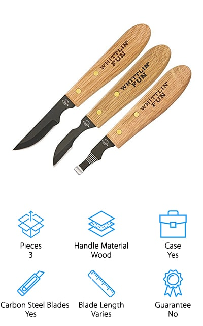 Last up in our list is the Old Forge Wood Carving, a gorgeous set of 3 knives that resemble hand forged wood carving knives. Each blade is made of premium carbon steel that's hard, durable, and sharp. They're ready to get to work right out of the box. And get this, while some of the knives we reviewed are only really effective on softwood, these knives are so sharp you can even use them on hardwood, like oak or walnut. The handles are really great, too. They're ergonomic and comfortable so you can use them for a long time without any hand fatigue or discomfort. This is a really nice set for someone just getting into wood cutting. It gives you the basic tools you need and a great place to start your collection.