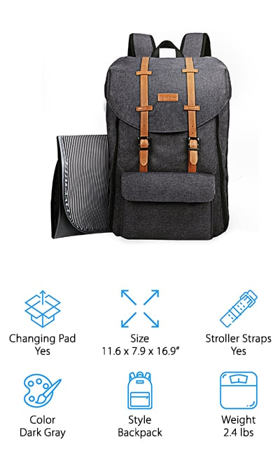 HapTim Large Capacity Diaper Bag