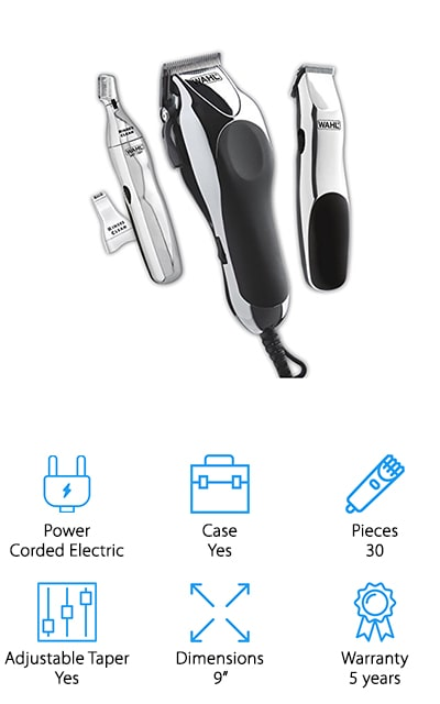 Another product in the running for best hair clippers for black men is the Wahl Home Barber Kit. This is a complete kit that includes everything you need for barbershop level haircuts at home. Get this, there are 30 pieces in all, including 12 guide combs ranging from ⅛ to 1-inch, comb, mirror, hair clips, and professional-quality scissors. That's not all, in addition to the clipper itself, you also get a small touch up trimmer and personal trimmer with 2 different head attachments. The blades are made of high-carbon steel. They self-sharped and hold an edge for a long time. Plus, you can use these clippers for a long time without any discomfort thanks to the ergonomically designed body. The clippers come with a 5-year warranty and the smaller trimmers are covered for 2 years.