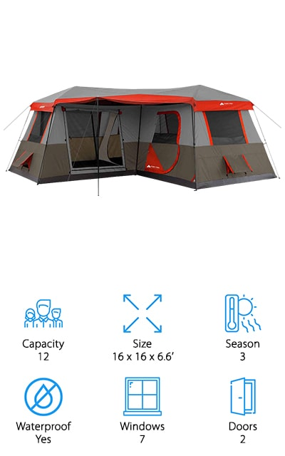 One of the best things about the Ozark Trail 3-Room Cabin Tent is the layout. What do we mean? Rather than being set up as a large square, the tent itself has an L-shape. This naturally creates different rooms inside the tent. Outside, there's an extendable awning that makes the section between the legs of the L-shape into a perfect porch area. This tent has enough room for 3 queen-size air mattresses and can sleep up to 12 adults comfortably. There are 7 windows that really help with ventilation and the fully taped factory sealed seams keep water out. Setup is really easy, too, because the poles are already attached. One more thing, it also features a large ground vent that is large enough to fit an air conditioner if needed.
