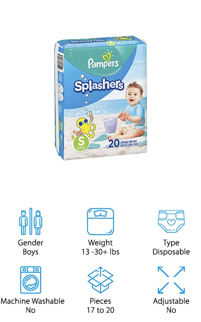 Last up is another great option for anyone looking for something disposable, Pampers Splashers Swim Diapers. Splashers are available in small, medium, and large which covers babies and toddlers who weigh 13 to greater than 30 pounds. These diapers don't swell in water like regular diapers. They feature dual-guard leak barriers that fit snugly around the legs and waist to help prevent anything from escaping while in the pool. Plus, the 360-degree stretchy waistband keeps your little one comfortable while they play in the water. The easy-tear sides make it really easy to get these diapers off after the pool or if they're soiled. They feature cute, unisex designs with swim and water-inspired graphics like an octopus, sunshine, and crabs. If you don't want to deal with the mess of a soiled, reusable diaper, disposable Pampers Splashers are a great choice.