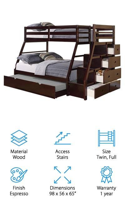 If you're looking for a bunk bed with storage, you're in luck. Our next pick is the ACME Jason Bunk Bed and it actually has enough storage that it can be used as a dresser, too. Why do we say that? The top bunk is accessed using a set of stairs. At the foot of the bed, there are 4 drawers that are built into the staircase that gives you room to put extra pillows, blankets, or clean clothes. This bed is made of pine with MDF and comes in a beautiful, deep brown espresso finish. There's a white version available, too. This is a twin-over-full design that provides a lot of sleeping space for sleepover guests. It takes a 7-inch mattress and all of the support slats are included.