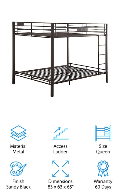 As your children grow, it's perfectly natural to think that they will want more space to move around when they sleep. This queen-sized bunk bed is a great option for kids, teens, and young adults to get a great night's sleep no matter their size! The metal frame is lightweight and easy to set up, yet durable enough to handle two grown adults sleeping on it. The full-length guardrails on all sides keep your child safe while sleeping on the top bunk. We also like that you can move the ladder to whichever side of the bed you prefer, which is great for smaller rooms and awkward spaces! We think this is a great option if you have teens that still need to share a room, or for giving your kids more room to move around. It also makes a great bed to keep on hand for when you have a lot of family or guests come over to visit!